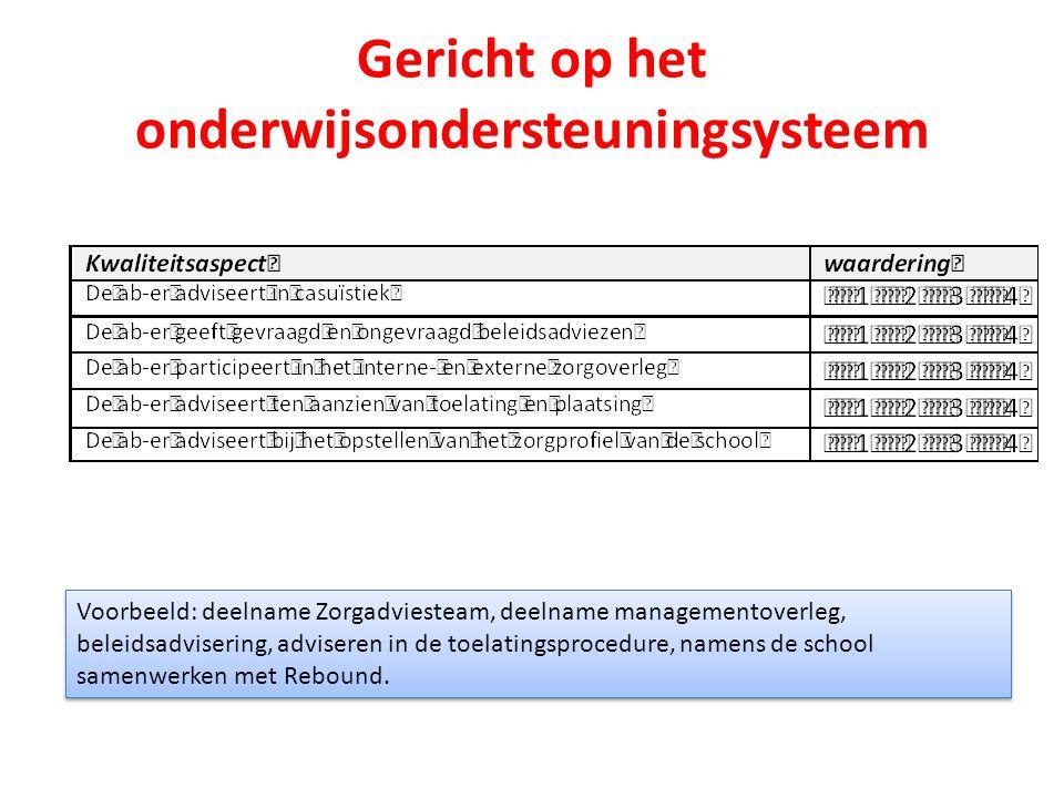 Gericht op het onderwijsondersteuningsysteem Voorbeeld: deelname Zorgadviesteam, deelname managementoverleg, beleidsadvisering, adviseren in de toelat