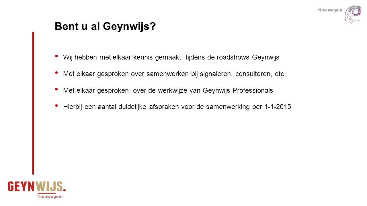 Bent u al Geynwijs? Wij hebben met elkaar kennis gemaakt tijdens de roadshows Geynwijs Met elkaar gesproken over samenwerken bij signaleren, consulter