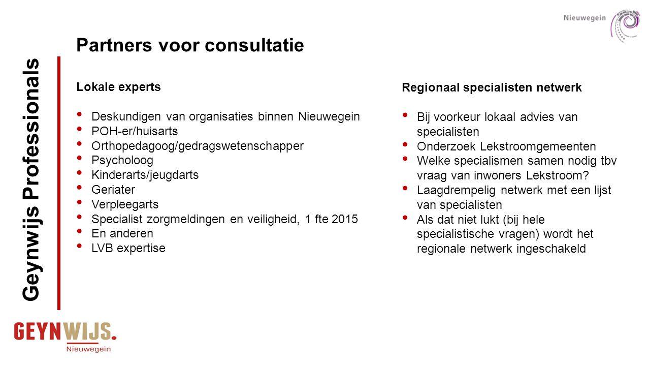 Partners voor consultatie Lokale experts Deskundigen van organisaties binnen Nieuwegein POH-er/huisarts Orthopedagoog/gedragswetenschapper Psycholoog