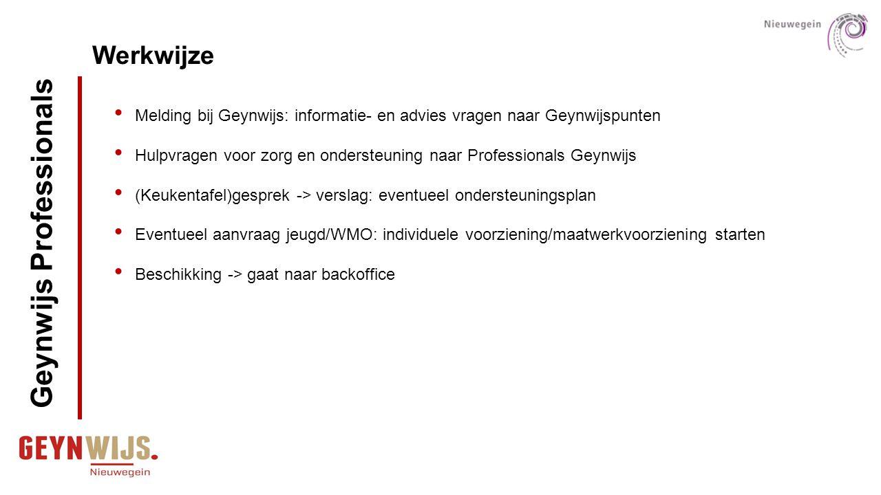 Werkwijze Melding bij Geynwijs: informatie- en advies vragen naar Geynwijspunten Hulpvragen voor zorg en ondersteuning naar Professionals Geynwijs (Ke