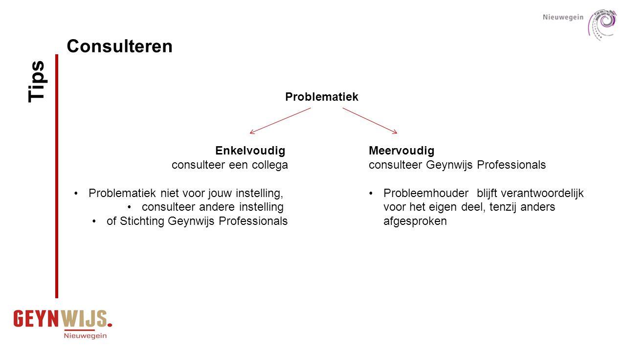 Consulteren Enkelvoudig consulteer een collega Problematiek niet voor jouw instelling, consulteer andere instelling of Stichting Geynwijs Professional
