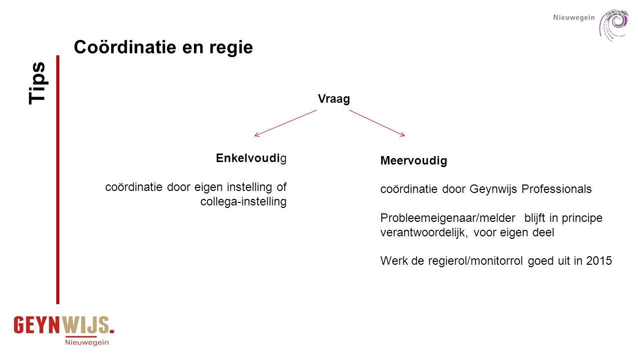 Meervoudig coördinatie door Geynwijs Professionals Probleemeigenaar/melder blijft in principe verantwoordelijk, voor eigen deel Werk de regierol/monit