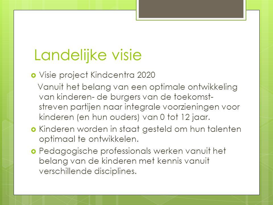 Landelijke visie  Visie project Kindcentra 2020 Vanuit het belang van een optimale ontwikkeling van kinderen- de burgers van de toekomst- streven partijen naar integrale voorzieningen voor kinderen (en hun ouders) van 0 tot 12 jaar.