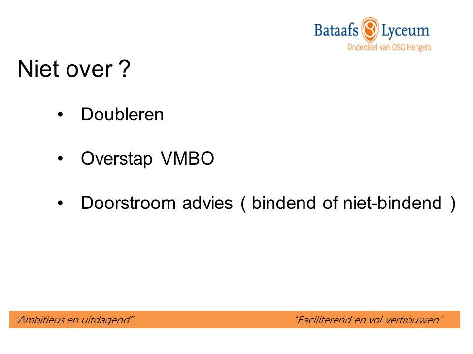 """"""" Ambitieus en uitdagend"""" """"Faciliterend en vol vertrouwen"""" Niet over ? Doubleren Overstap VMBO Doorstroom advies ( bindend of niet-bindend )"""