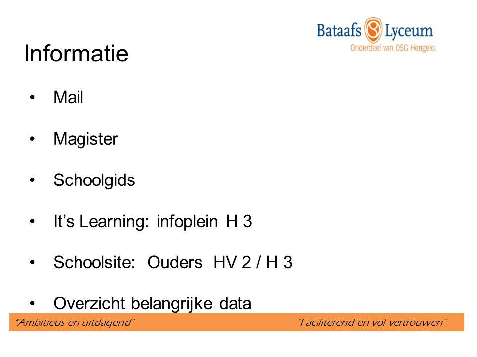 """"""" Ambitieus en uitdagend"""" """"Faciliterend en vol vertrouwen"""" Informatie Mail Magister Schoolgids It's Learning: infoplein H 3 Schoolsite: Ouders HV 2 /"""