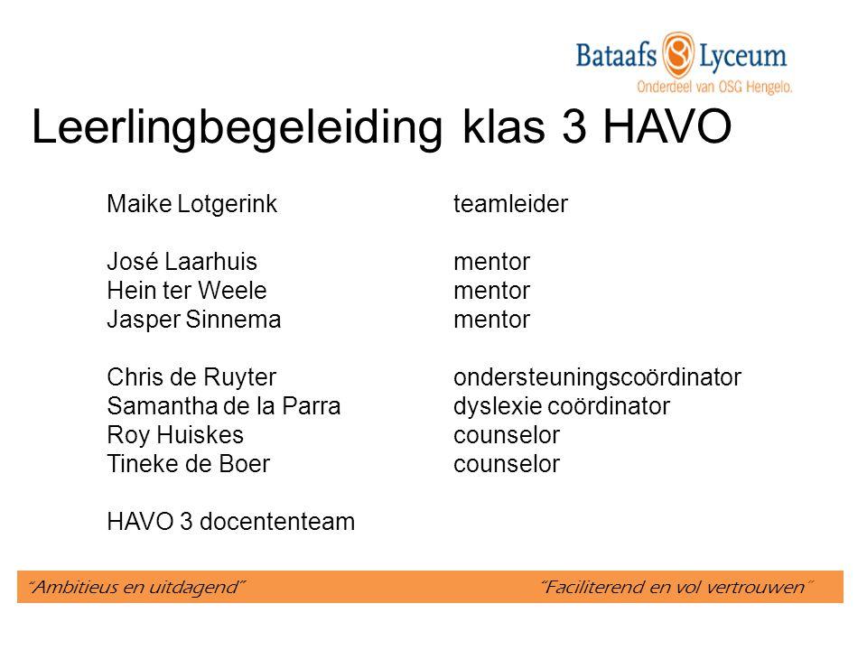 Ambitieus en uitdagend Faciliterend en vol vertrouwen Schakel tussen onderbouw en Tweede Fase Profielkeuze HACO: Havisten Competent 3 HAVO een overgangsjaar