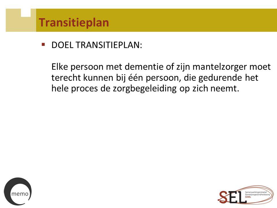 Transitieplan  DOEL TRANSITIEPLAN: Elke persoon met dementie of zijn mantelzorger moet terecht kunnen bij één persoon, die gedurende het hele proces
