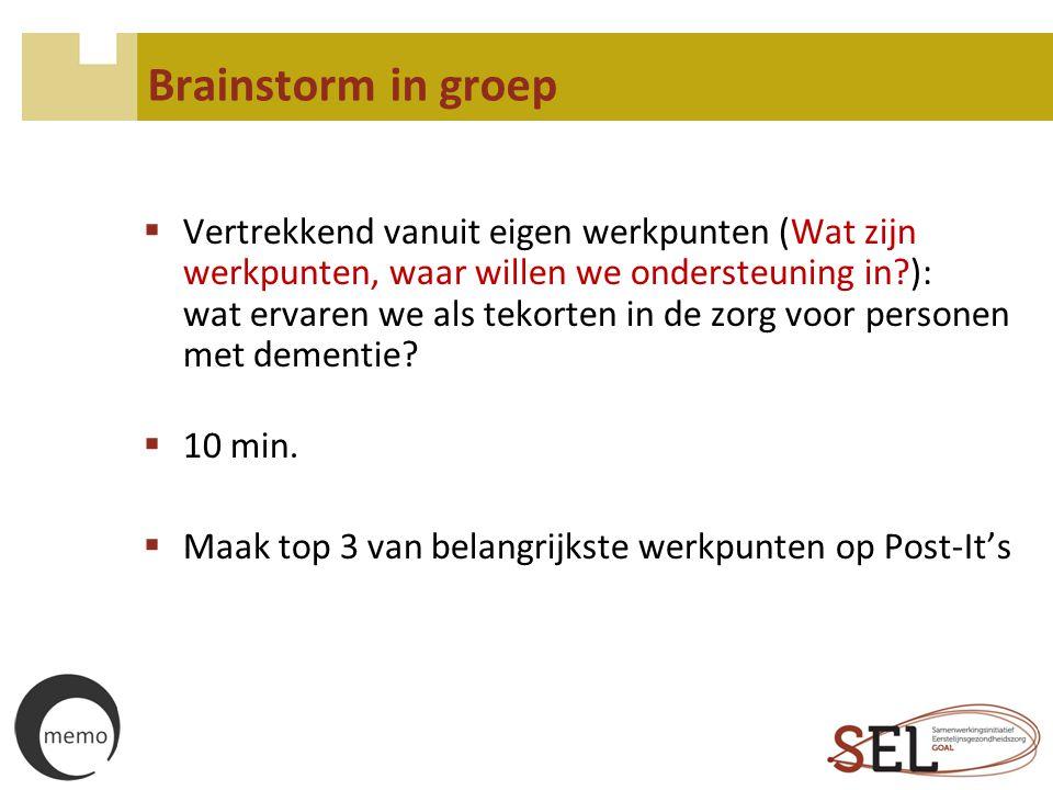 Brainstorm in groep  Vertrekkend vanuit eigen werkpunten (Wat zijn werkpunten, waar willen we ondersteuning in?): wat ervaren we als tekorten in de z