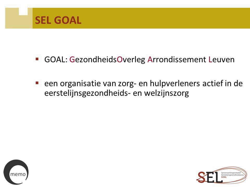 SEL GOAL  GOAL: GezondheidsOverleg Arrondissement Leuven  een organisatie van zorg- en hulpverleners actief in de eerstelijnsgezondheids- en welzijn