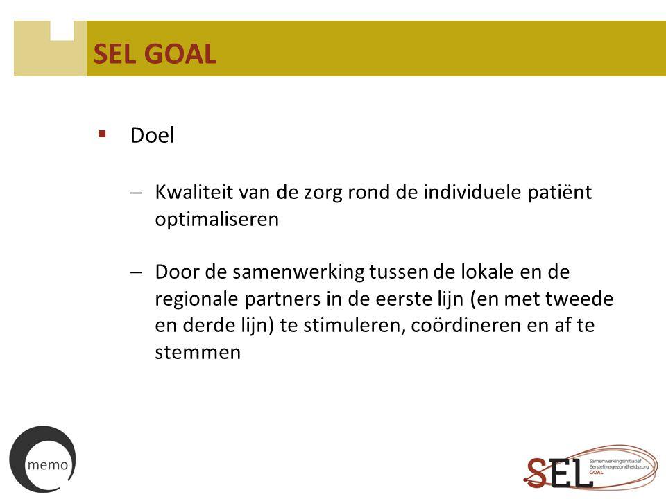 SEL GOAL  Doel  Kwaliteit van de zorg rond de individuele patiënt optimaliseren  Door de samenwerking tussen de lokale en de regionale partners in
