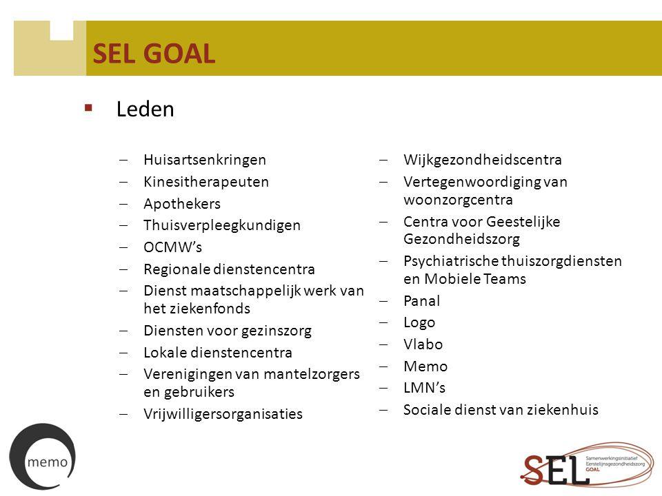 SEL GOAL  Opdrachten  Multidisciplinaire vorming en ontmoeting  Sociale kaart www.selgoal.bewww.selgoal.be  Multidisciplinair overleg (MDO – MDO PSY)  Aanreiken en promoten van het e-zorgplan  Samenwerkingsovereenkomsten