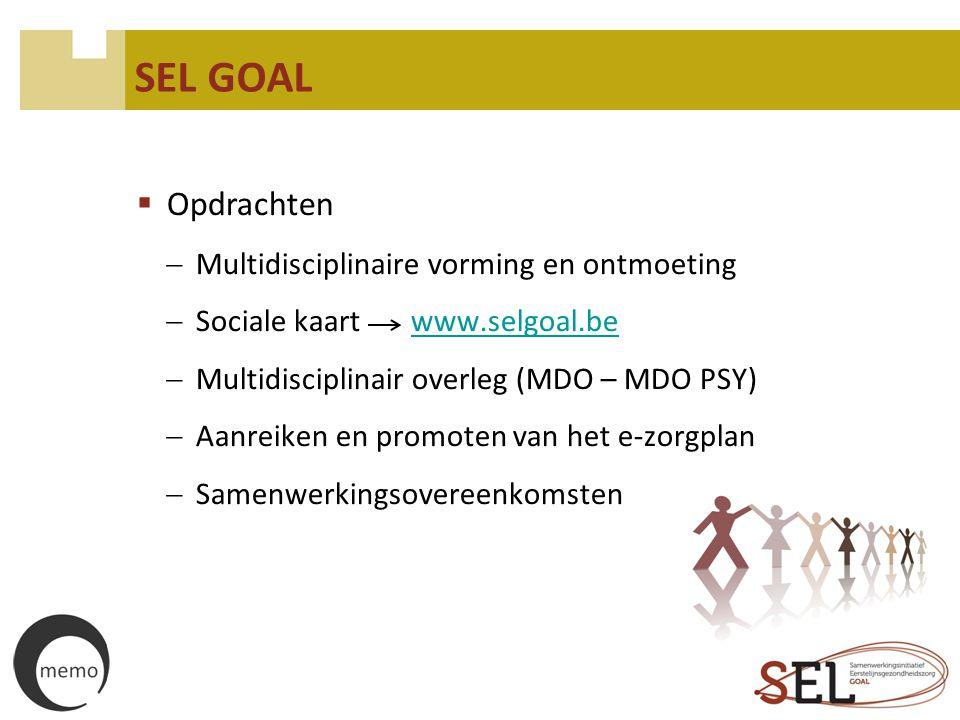 SEL GOAL  Opdrachten  Multidisciplinaire vorming en ontmoeting  Sociale kaart www.selgoal.bewww.selgoal.be  Multidisciplinair overleg (MDO – MDO P
