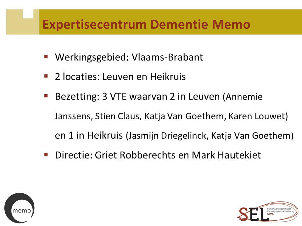 Expertisecentrum Dementie Memo  Werkingsgebied: Vlaams-Brabant  2 locaties: Leuven en Heikruis  Bezetting: 3 VTE waarvan 2 in Leuven (Annemie Janss
