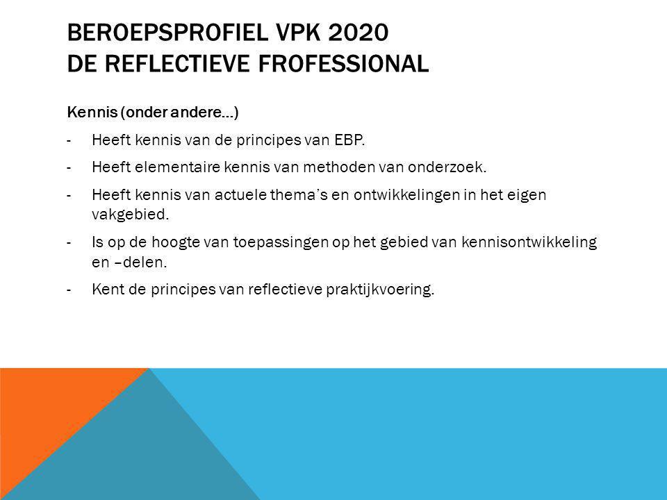 BEROEPSPROFIEL VPK 2020 DE REFLECTIEVE FROFESSIONAL Vaardigheden en attitude: (onder andere…) -Ontwikkelt zich door zelfreflectie en zelfbeoordeling van eigen resultaten.