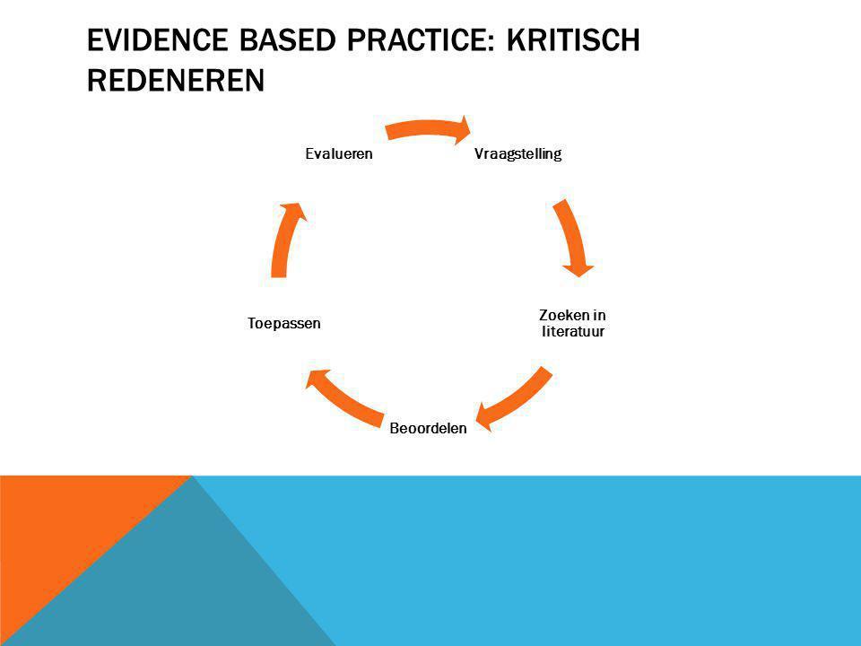 EVIDENCE BASED PRACTICE: KRITISCH REDENEREN Vraagstelling Zoeken in literatuur Beoordelen Toepassen Evalueren