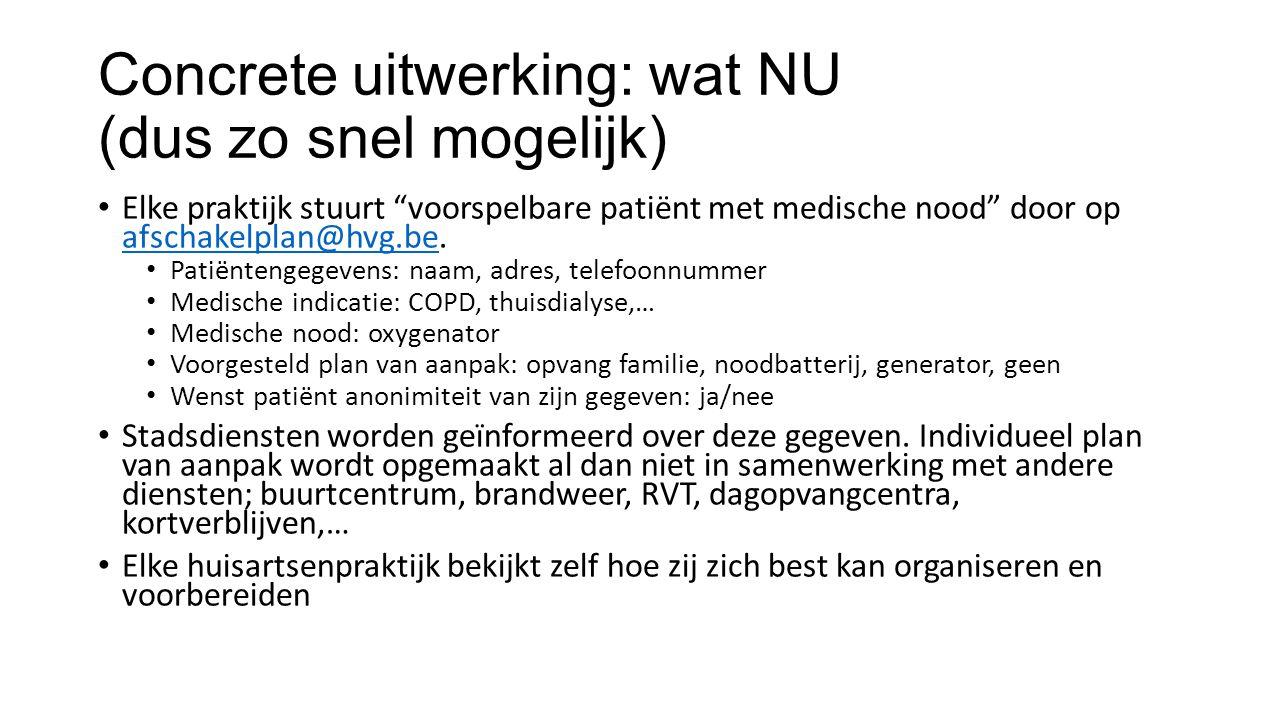 Concrete uitwerking: wat NU (dus zo snel mogelijk) Elke praktijk stuurt voorspelbare patiënt met medische nood door op afschakelplan@hvg.be.