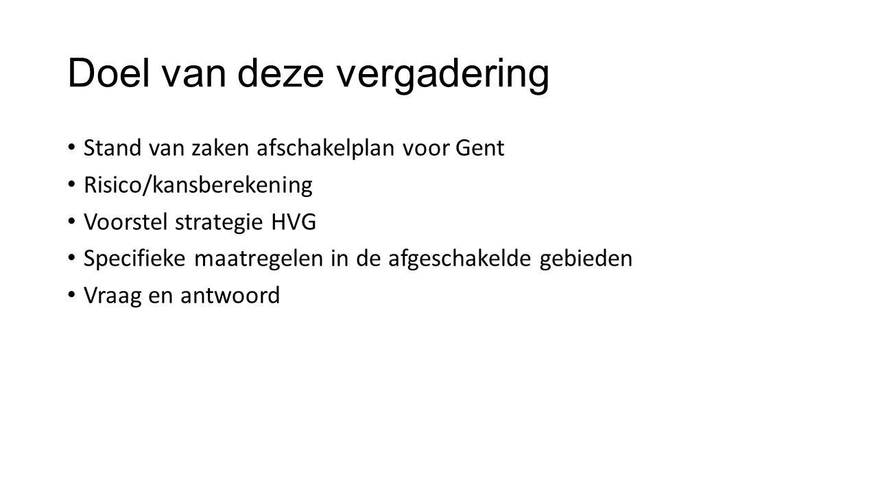 Doel van deze vergadering Stand van zaken afschakelplan voor Gent Risico/kansberekening Voorstel strategie HVG Specifieke maatregelen in de afgeschakelde gebieden Vraag en antwoord