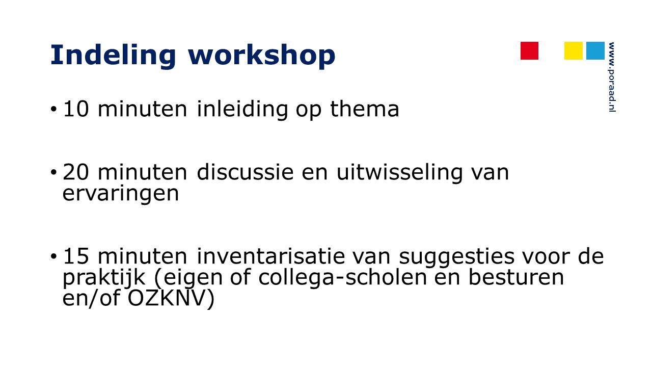 www.poraad.nl Indeling workshop 10 minuten inleiding op thema 20 minuten discussie en uitwisseling van ervaringen 15 minuten inventarisatie van sugges