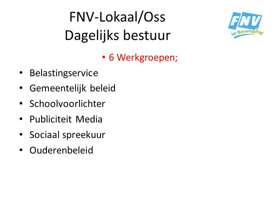 FNV-Lokaal/Oss Dagelijks bestuur 6 Werkgroepen; Belastingservice Gemeentelijk beleid Schoolvoorlichter Publiciteit Media Sociaal spreekuur Ouderenbele