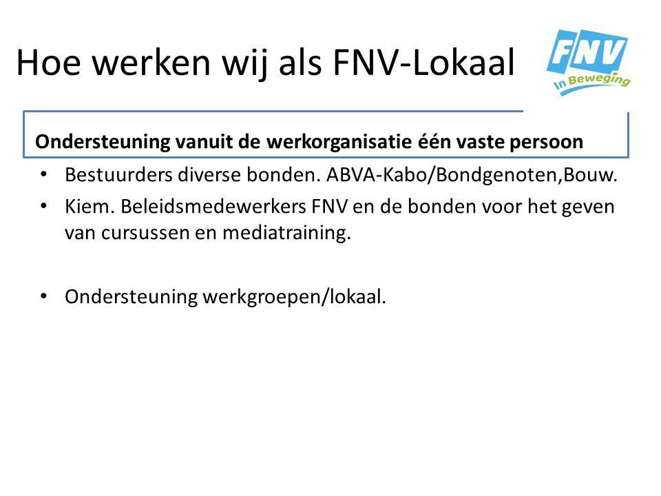 Hoe werken wij als FNV-Lokaal Ondersteuning vanuit werkorganisaties. Bestuurders diverse bonden. ABVA-Kabo/Bondgenoten,Bouw. Kiem. Beleidsmedewerkers
