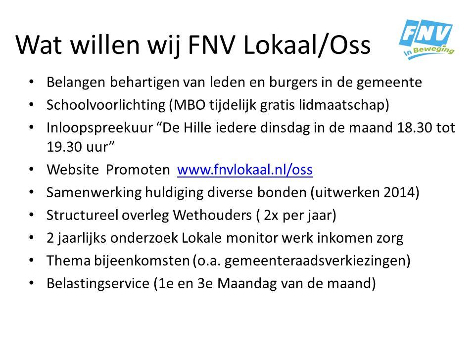 Wat willen wij FNV Lokaal/Oss Belangen behartigen van leden en burgers in de gemeente Schoolvoorlichting (MBO tijdelijk gratis lidmaatschap) Inloopspr
