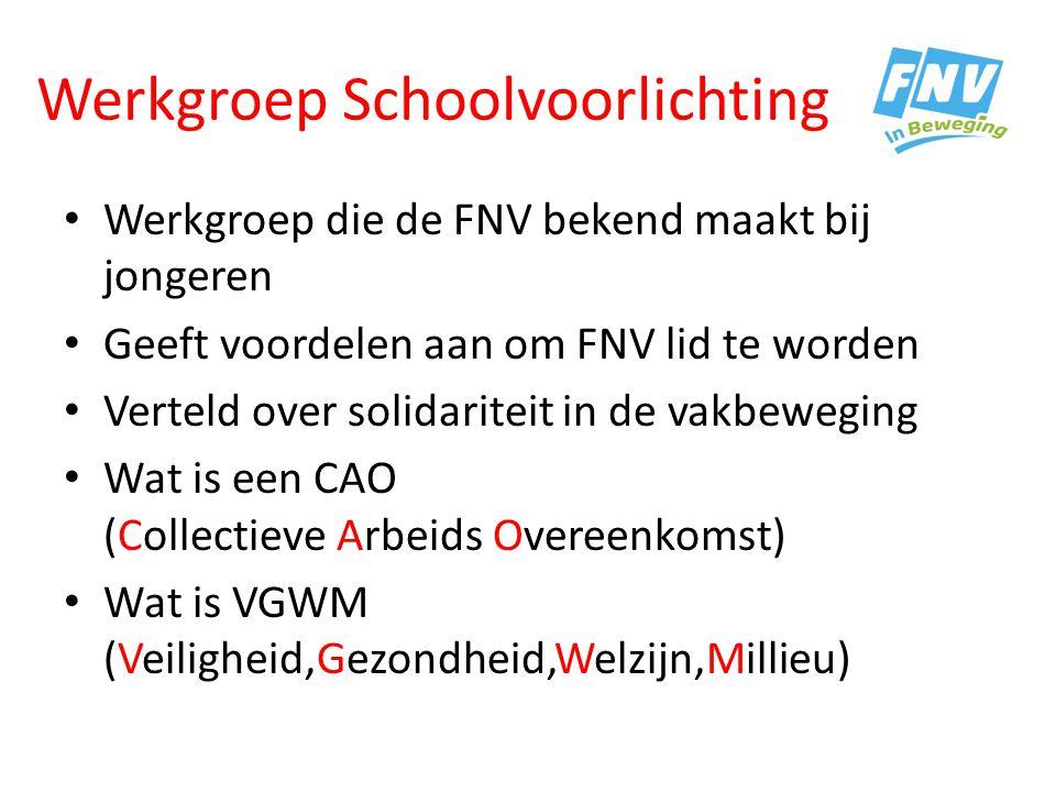 Werkgroep Schoolvoorlichting Werkgroep die de FNV bekend maakt bij jongeren Geeft voordelen aan om FNV lid te worden Verteld over solidariteit in de v