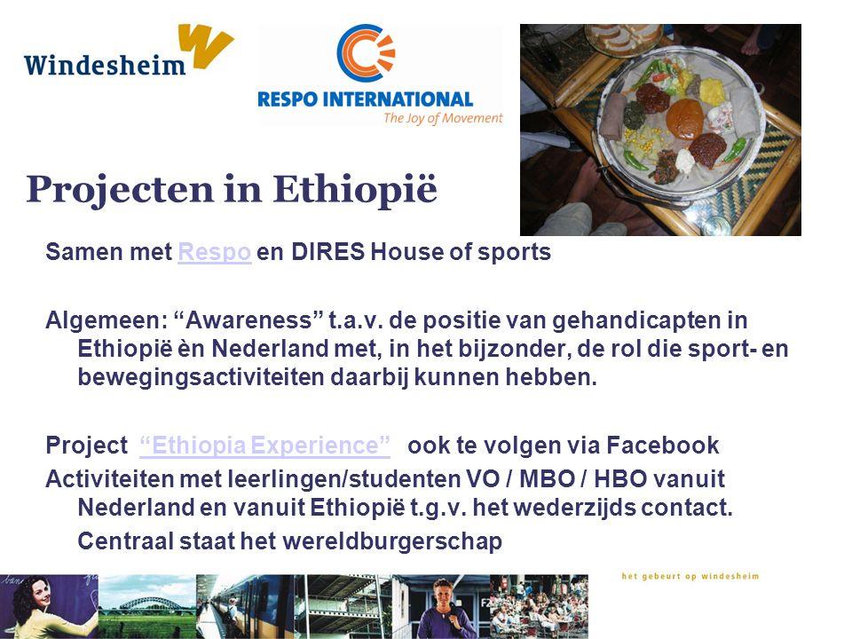 """Projecten in Ethiopië Samen met Respo en DIRES House of sportsRespo Algemeen: """"Awareness"""" t.a.v. de positie van gehandicapten in Ethiopië èn Nederland"""