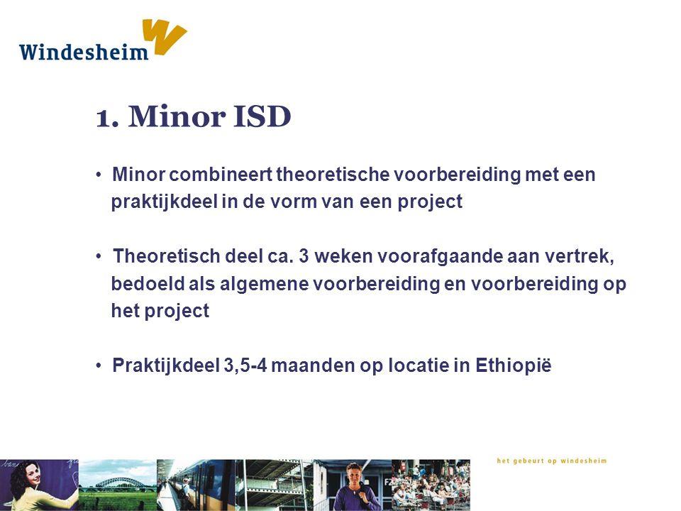 1. Minor ISD Minor combineert theoretische voorbereiding met een praktijkdeel in de vorm van een project Theoretisch deel ca. 3 weken voorafgaande aan