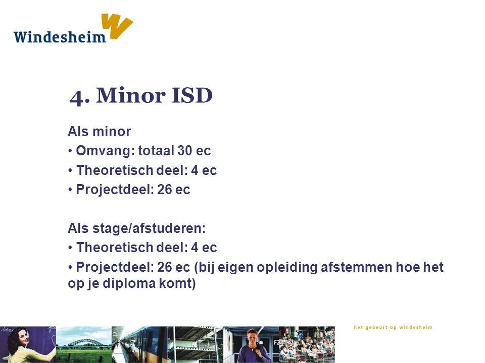4. Minor ISD Als minor Omvang: totaal 30 ec Theoretisch deel: 4 ec Projectdeel: 26 ec Als stage/afstuderen: Theoretisch deel: 4 ec Projectdeel: 26 ec