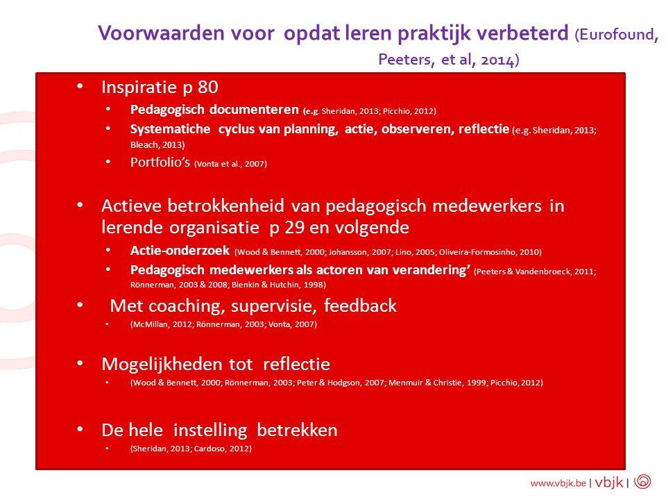 Voorwaarden voor opdat leren praktijk verbeterd (Eurofound, Peeters, et al, 2014) of CPD initiatives Inspiratie p 80 Pedagogisch documenteren (e.g. Sh