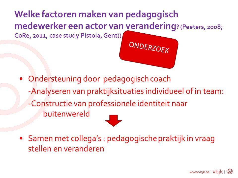 Welke factoren maken van pedagogisch medewerker een actor van verandering ? (Peeters, 2008; CoRe, 2011, case study Pistoia, Gent)) Ondersteuning door