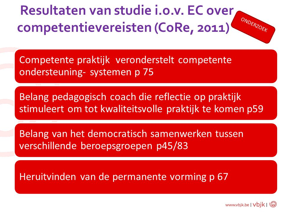 Resultaten van studie i.o.v. EC over competentievereisten (CoRe, 2011) Competente praktijk veronderstelt competente ondersteuning- systemen p 75 Belan