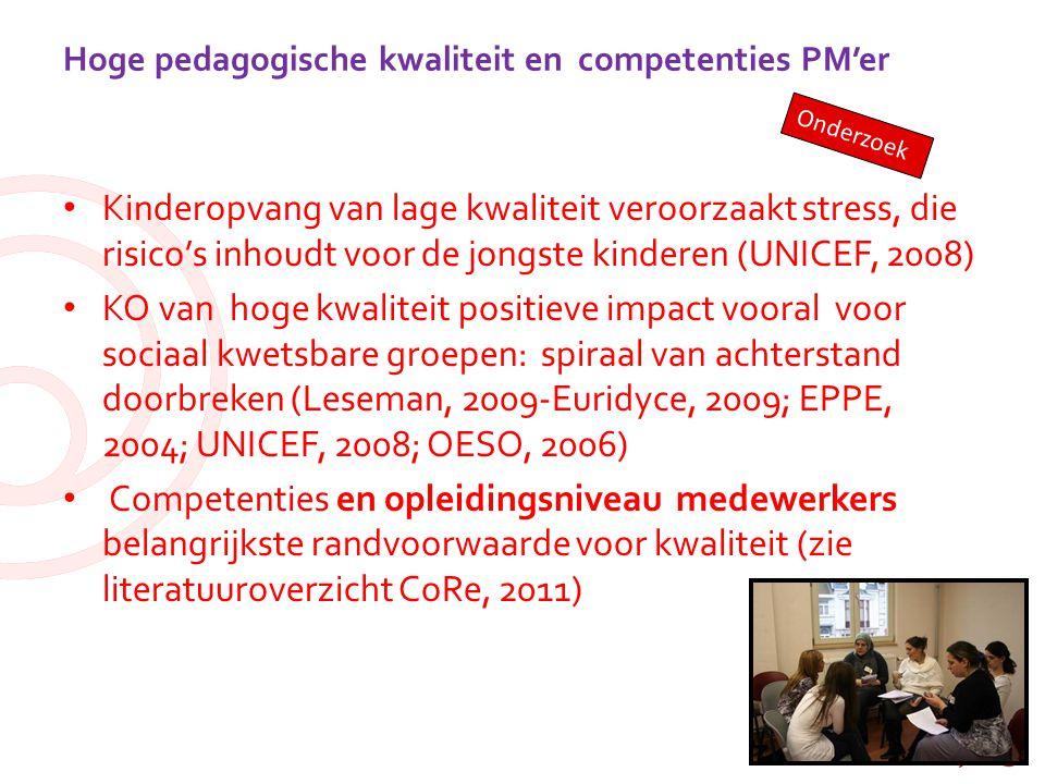 Hoge pedagogische kwaliteit en competenties PM'er Kinderopvang van lage kwaliteit veroorzaakt stress, die risico's inhoudt voor de jongste kinderen (U