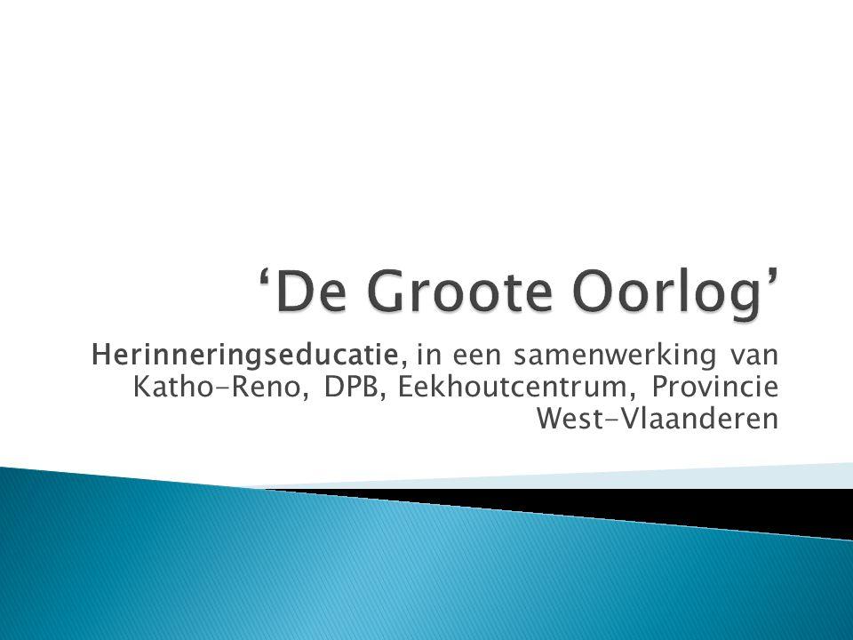 Herinneringseducatie, in een samenwerking van Katho-Reno, DPB, Eekhoutcentrum, Provincie West-Vlaanderen
