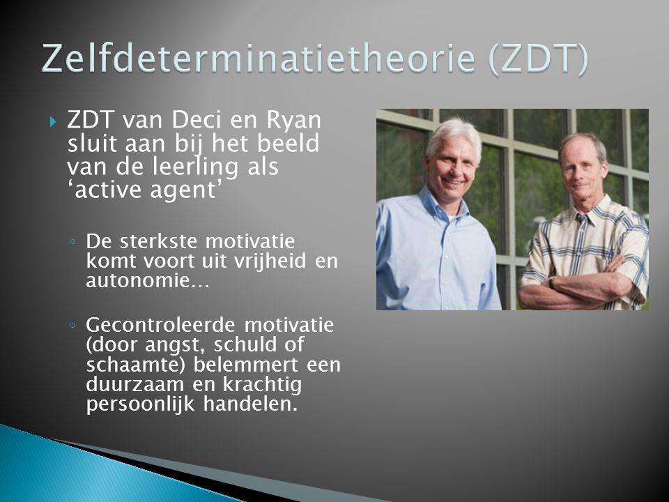  ZDT van Deci en Ryan sluit aan bij het beeld van de leerling als 'active agent' ◦ De sterkste motivatie komt voort uit vrijheid en autonomie… ◦ Geco