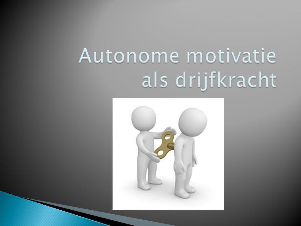  Intrinsieke motivatie ◦ Spontane interesse ◦ Activiteit om de activiteit  Extrinsieke motivatie ◦ Niet spontaan ◦ Gedreven door doelen buiten de activiteit, bv.