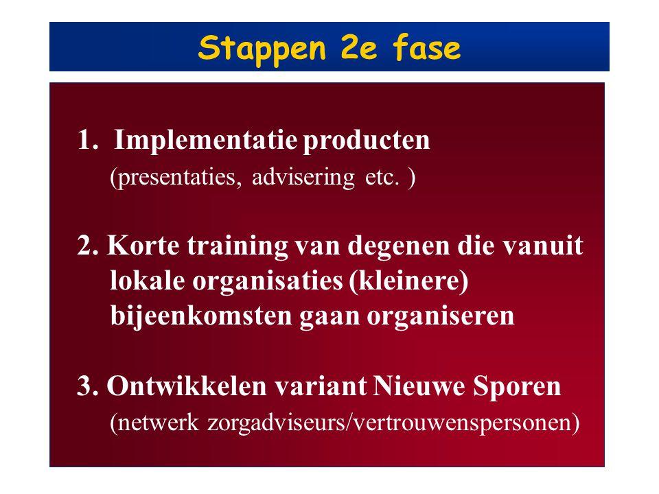 Stappen 2e fase 1. Implementatie producten (presentaties, advisering etc. ) 2. Korte training van degenen die vanuit lokale organisaties (kleinere) bi