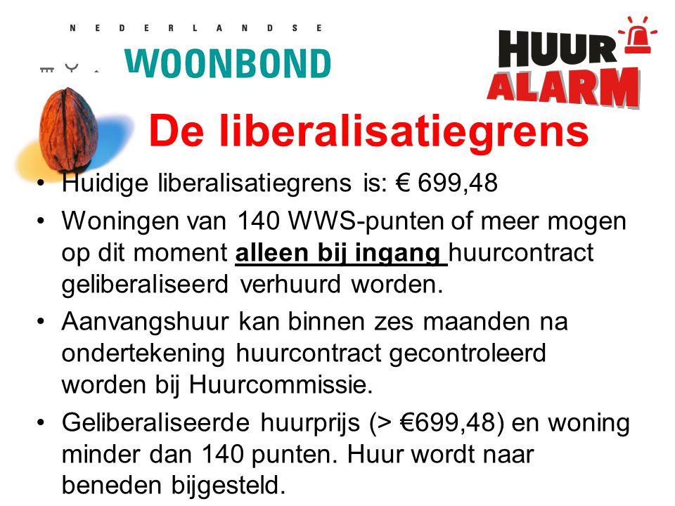 De liberalisatiegrens Huidige liberalisatiegrens is: € 699,48 Woningen van 140 WWS-punten of meer mogen op dit moment alleen bij ingang huurcontract geliberaliseerd verhuurd worden.