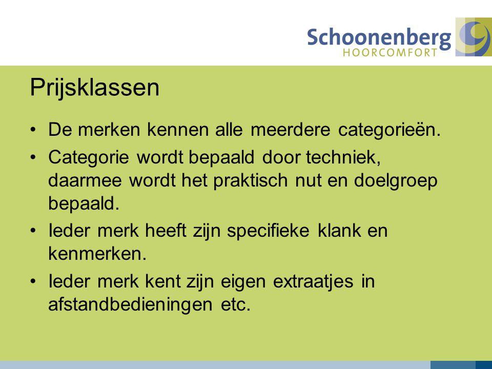 Prijsklassen De merken kennen alle meerdere categorieën.
