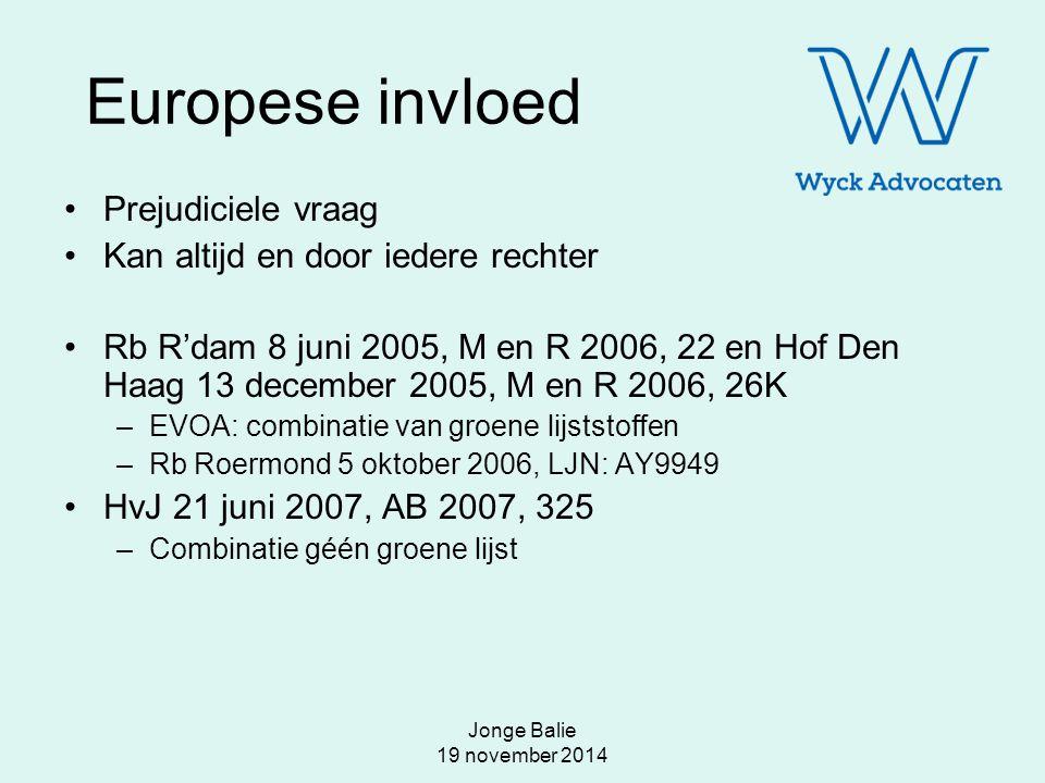 Jonge Balie 19 november 2014 Europese invloed Prejudiciele vraag Kan altijd en door iedere rechter Rb R'dam 8 juni 2005, M en R 2006, 22 en Hof Den Ha