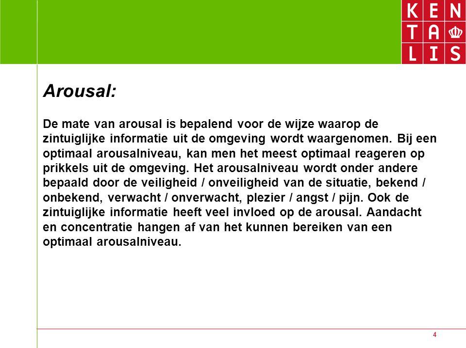 4 Arousal: De mate van arousal is bepalend voor de wijze waarop de zintuiglijke informatie uit de omgeving wordt waargenomen. Bij een optimaal arousal