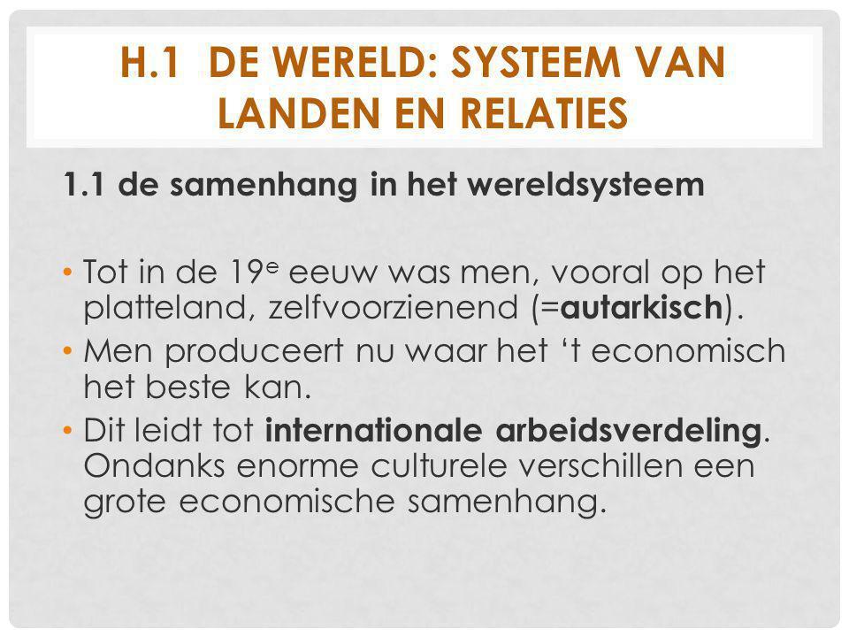 H.1 DE WERELD: SYSTEEM VAN LANDEN EN RELATIES 1.1 de samenhang in het wereldsysteem Tot in de 19 e eeuw was men, vooral op het platteland, zelfvoorzienend (= autarkisch ).