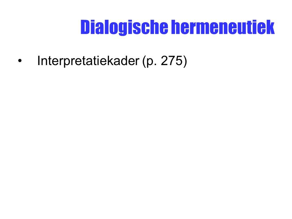 Dialogische hermeneutiek Interpretatiekader (p. 275)