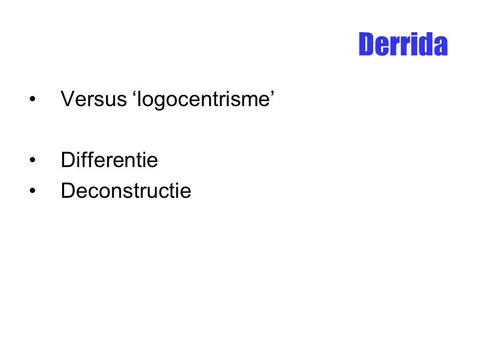 Versus 'logocentrisme' Differentie Deconstructie