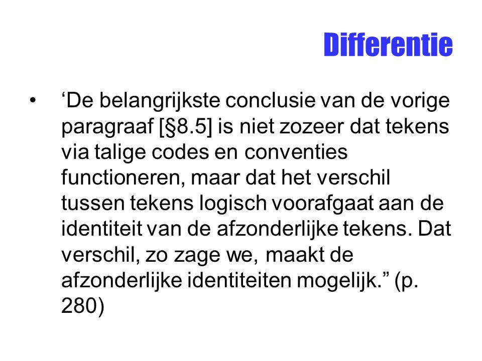 Differentie 'De belangrijkste conclusie van de vorige paragraaf [§8.5] is niet zozeer dat tekens via talige codes en conventies functioneren, maar dat