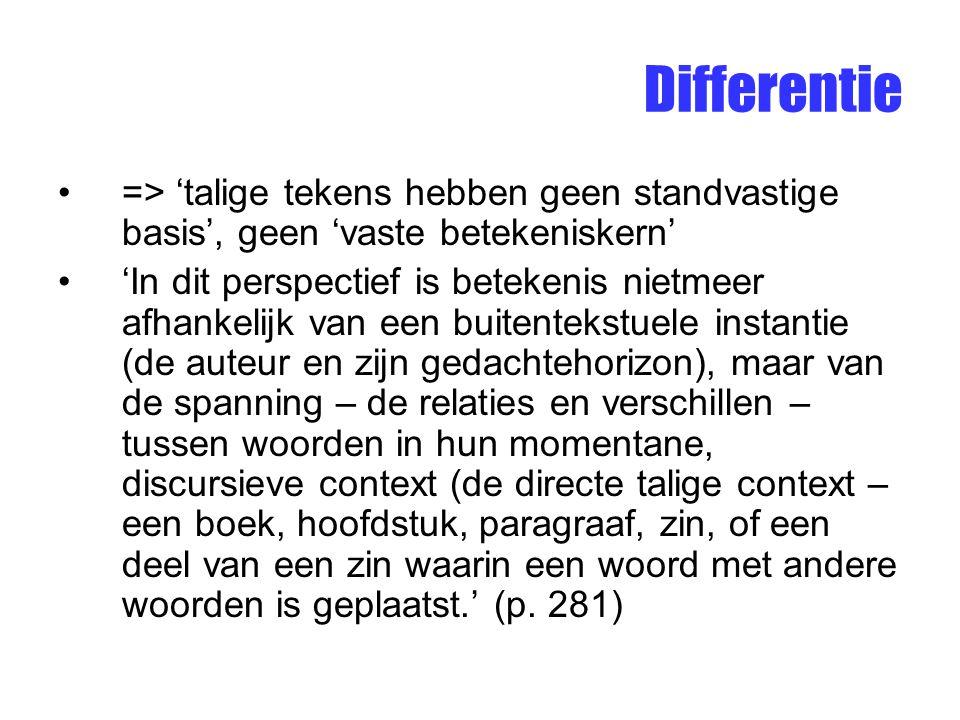 Differentie => 'talige tekens hebben geen standvastige basis', geen 'vaste betekeniskern' 'In dit perspectief is betekenis nietmeer afhankelijk van ee