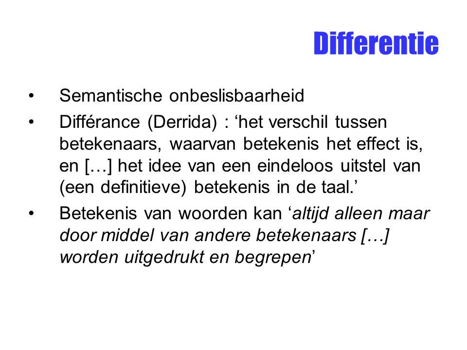 Differentie Semantische onbeslisbaarheid Différance (Derrida) : 'het verschil tussen betekenaars, waarvan betekenis het effect is, en […] het idee van