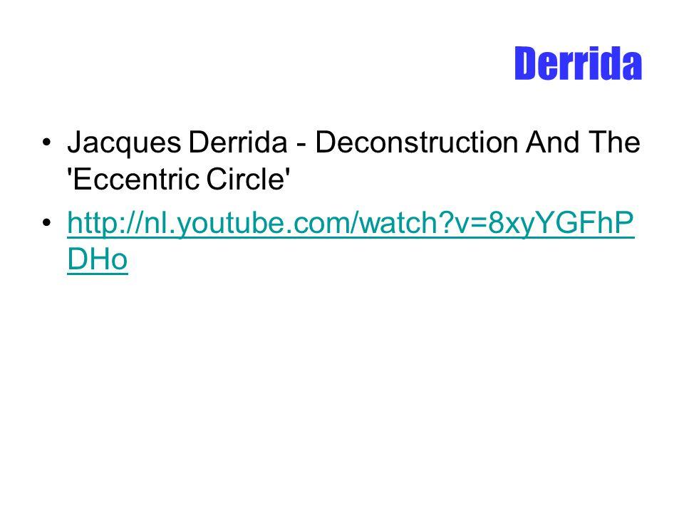 Derrida Jacques Derrida - Deconstruction And The 'Eccentric Circle' http://nl.youtube.com/watch?v=8xyYGFhP DHohttp://nl.youtube.com/watch?v=8xyYGFhP D