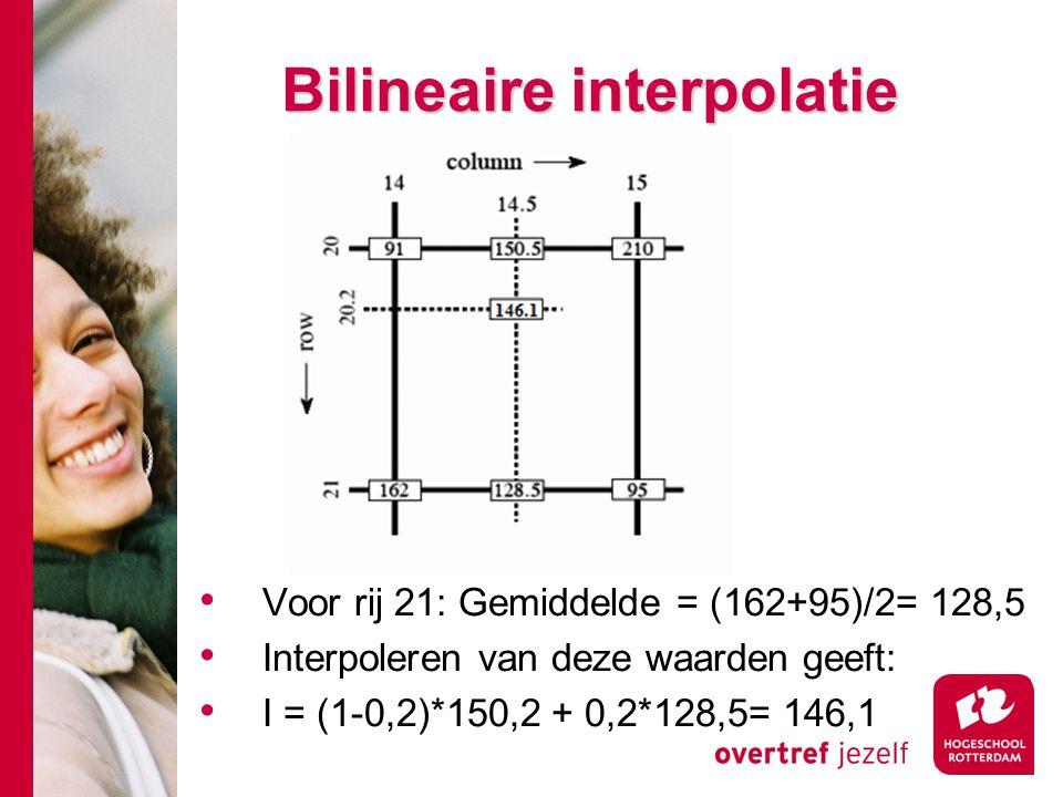# Bilineaire interpolatie Voor rij 21: Gemiddelde = (162+95)/2= 128,5 Interpoleren van deze waarden geeft: I = (1-0,2)*150,2 + 0,2*128,5= 146,1