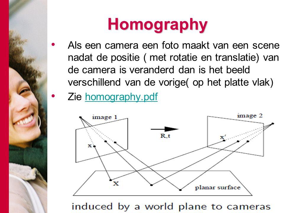 # Homography Als een camera een foto maakt van een scene nadat de positie ( met rotatie en translatie) van de camera is veranderd dan is het beeld ver
